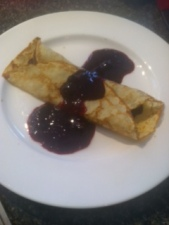 crepe with berry compote